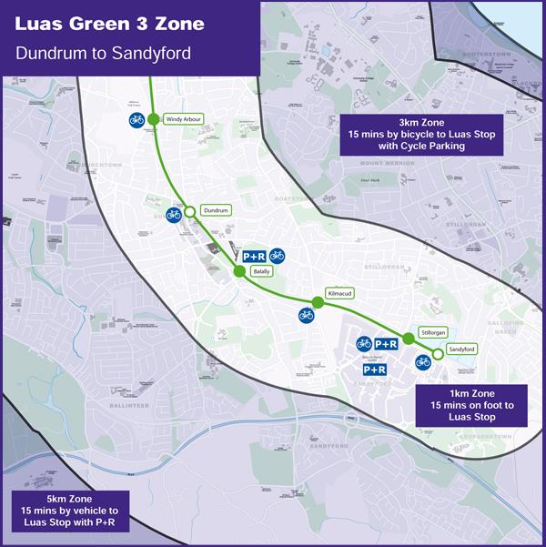 Luas Green Line Zone 3 Walking & Cycling Map